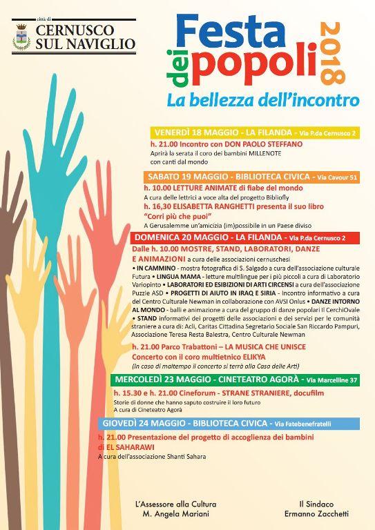"Festa dei Popoli 2018 – venerdì 18 maggio 2018 – ""Filanda"" Cernusco sul Naviglio"